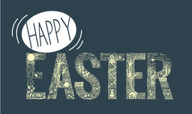 Easter inscription  Linear style Royalty Free Stock Photo