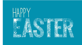 Easter inscription  Linear style Royalty Free Stock Photos