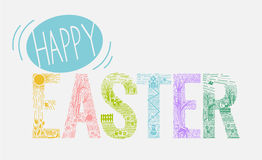 Easter inscription  Linear style Royalty Free Stock Image