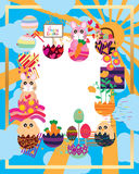 Easter inside egg frame. This illustration is design and drawing abstract full hope of weather and sun god blessing in frame template with Happy Easter Stock Images