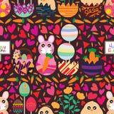 Easter inside egg horizontal seamless pattern Stock Photos