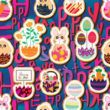 Easter inside egg sticker seamless pattern Stock Photo