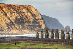 Easter island. South America, Chile - Rapa Nui, Isla de Pascua, Easter Island, Ahu Tongariki the largest ahu on the Island