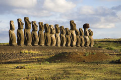 Easter island. Row with statues at easter island Royalty Free Stock Images
