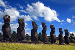 Easter island. A platform with statues on Easter Island Royalty Free Stock Photos