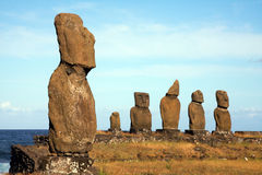 Easter island. A platform with statues on Easter Island Stock Image