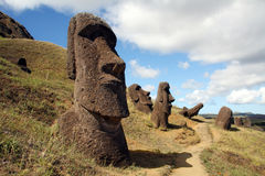 Easter island. A platform with statues on Easter Island