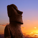 Easter island. A stone statue on Easter island at sunset Royalty Free Stock Photography