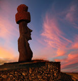 Easter island. A stone statue on Easter island at sunset Stock Image