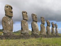 Easter Island - Ahu Akivi. Ahu Akivi - the platform with statues od first explorers of Easter Island stock photo
