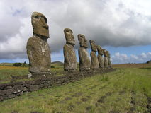 Easter Island - Ahu Akivi. Ahu Akivi - the platform with statues od first explorers of Easter Island stock images