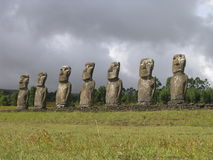Easter Island - Ahu Akivi. Ahu Akivi - the platform with statues od first explorers of Easter Island stock image