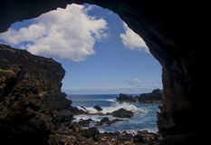 Easter Island - Ana Kai Tangata - rock cave with old paintings Royalty Free Stock Image
