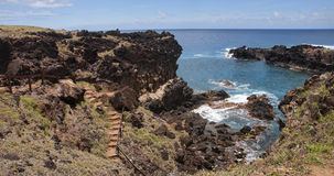 Easter Island - Ana Kai Tangata - rock cave with old paintings Royalty Free Stock Photos
