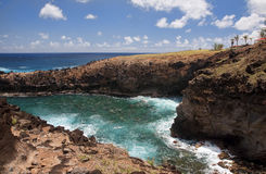 Easter Island - Ana Kai Tangata - rock cave with old paintings Stock Photo