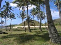 Easter Island - Anakena beach. Anakena Beach - the only sandy beach on Easter Island - with moais on Ahu Nau Nau royalty free stock image