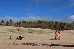 Easter Island Beach Anakena royalty free stock photography