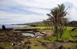 Easter Island  -  the beach is located almost in the center of H Stock Photos