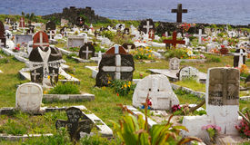 Easter Island Cemetery. Cemetery overlooking the ocean on Easter Island royalty free stock photo