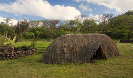 Easter Island (Chile) - a straw hut on the basis of a fishing boat Stock Image