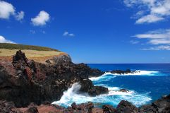 Easter Island Coastline. Rocky coast of Easter Island (Rapa Nui), Chile Stock Photos