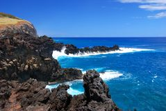 Easter Island Coastline. Rocky coast of Easter Island (Rapa Nui), Chile Stock Image