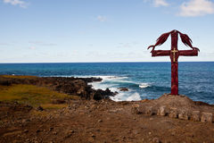 Easter island coastline Christian Cross Stock Images