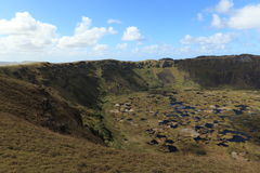 Easter Island Crater Rano Kau Stock Photo