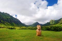 Easter island head on Kualoa Ranch, Oahu Royalty Free Stock Photography