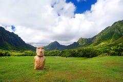 Easter island head on Kualoa Ranch, Oahu Royalty Free Stock Photos
