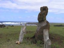 Easter Island - moai. Easter Island - lonely moai at Ahu Hanga Te'e stock photo