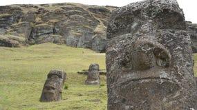 Easter Island Moai. Moai statues in Easter Island Stock Photo