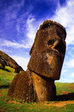 Easter Island moai. Easter Island - Nursery, head of a single moai buried Stock Images