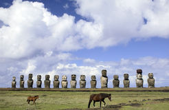 Easter Island Moai - Chile. Row of ancient Moai at Ahu Tongariki on Easter Island in the South Pacific Stock Image