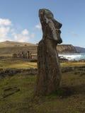 Easter Island Moai Coast. Moai foreground and background with coastal scene, Easter Island Stock Photos