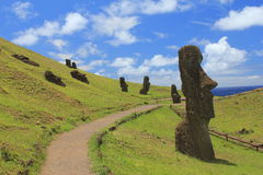 Easter Island Moai facing right. Blue sky, clouds and the ocean in the back. A path to visit every Moai at the Moai Factory Royalty Free Stock Image