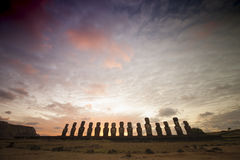 Easter Island Moai Heads. Moai heads on Easter Island, an island off Chile in South America, known locally as Rapa Nui stock images