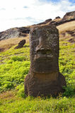 Easter Island Moai - Rano Raraku. Moai (stone statues) at Rano Raraku on Easter Island royalty free stock photos