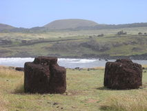 Easter Island - moai's topknots at Ahu Hanga Te'e. Easter Island - moai's red topknots at Ahu Hanga Te'e royalty free stock photography