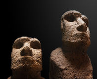 Easter Island Moai statue. Details of Easter Island Moai statue , black background Stock Images