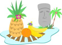 Easter Island Moai Statue and Fruits Royalty Free Stock Image