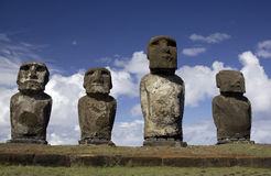 Easter Island Moai Statues. Easter Island (Rapa Nui) is an small island in the southeastern Pacific Ocean, west of and administered by Chile.  The island, first Stock Images