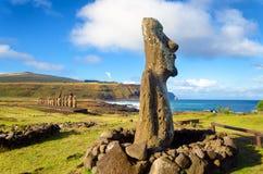 Easter Island Moai Statues. Moai statues on Easter Island at Ahu Tongariki in Chile Stock Photo