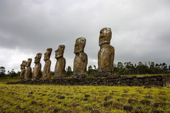 Easter Island Moai. Moai Stone Statues at Rapa Nui stock photos