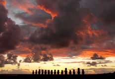 Moai sunrise, Easter Island , Chile Stock Photo