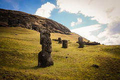 Easter Island Moai. Unfinished Moai in the Easter Island Quarry royalty free stock image
