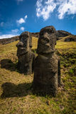 Easter Island Moai. Unfinished Moai in the Easter Island Quarry Royalty Free Stock Photos
