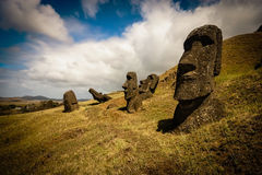 Easter Island Moai. Unfinished Moai in the Easter Island Quarry royalty free stock photography