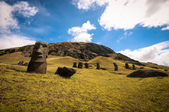 Easter Island Moai. Unfinished Moai in the Easter Island Quarry Stock Photos