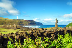 Easter Island Moai View. Stunning view of Moai and Pacific Ocean on Easter Island in Chile Royalty Free Stock Photos